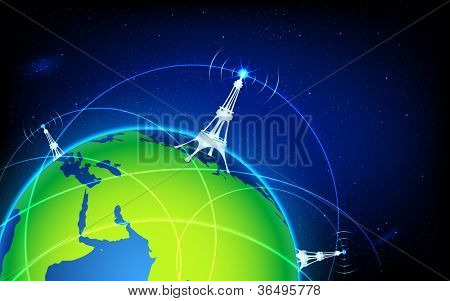illustration of connectivity around world through wifi tower
