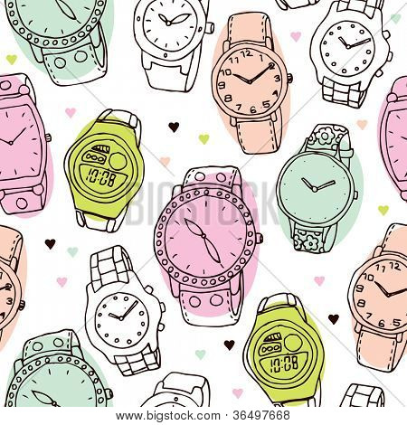 Seamless fashion watch vintage background pattern in vector