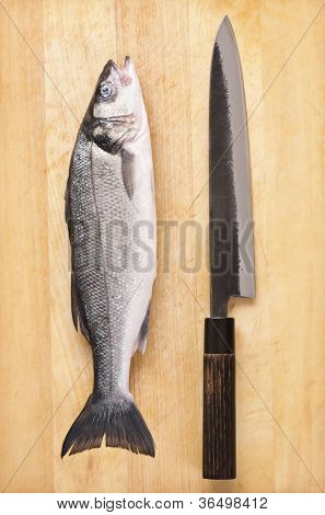 fish with japanese knife