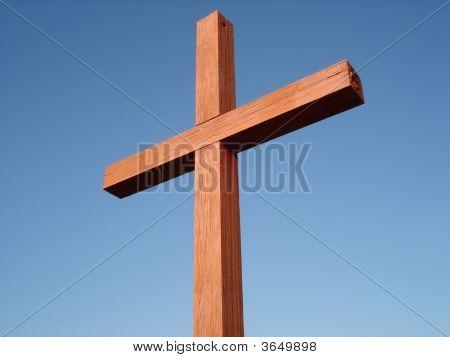 Wooden Cross Against Blue Sky