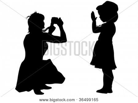 Vector drawing silhouette of a little girl and mom