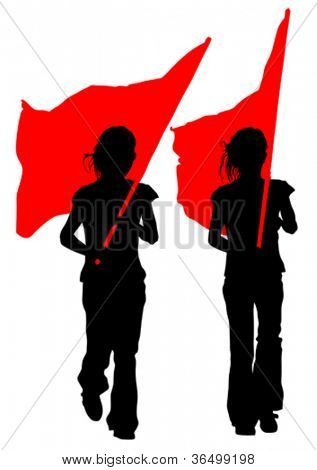 Vector drawing young women and flags