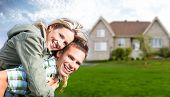 stock photo of house rent  - Happy family near new house - JPG