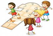 pic of hopscotch  - illustration of a kids playing a number game - JPG