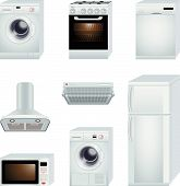 stock photo of washing-machine  - Vector illustration of washing machine stove dishwasher dryer microwave ventilation and refrigerator - JPG