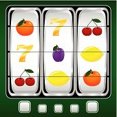 image of slot-machine  - Vector illustration of a slot machine with fruits - JPG