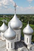 Domes of St. Sophia cathedral in Vologda, Russia