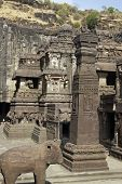 picture of ellora  - Stone elephant and obelisk outside the ancient Hindu Temple  - JPG