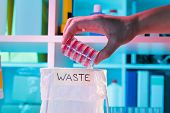 Wastebasket in the biochemical laboratory, safety of biological research poster