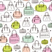 pic of clutch  - Seamless vintage fashion bag clutch and carry on background pattern in vector - JPG