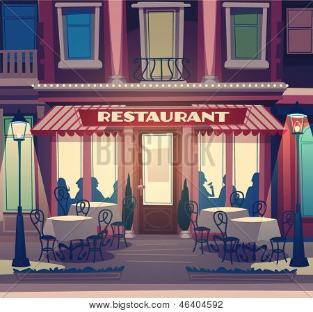 Restaurant facade. Retro style vector illustration