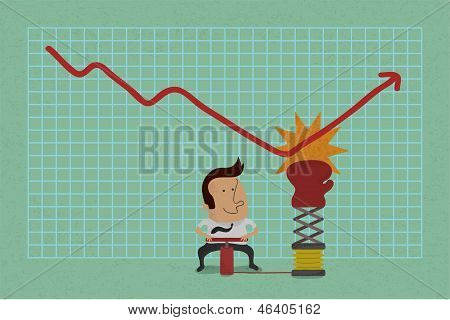 Businessman with business growing graph , eps10 vector format