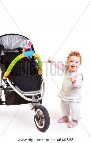 Happy Baby And Stroller