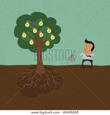 Business man watering idea tree vector format