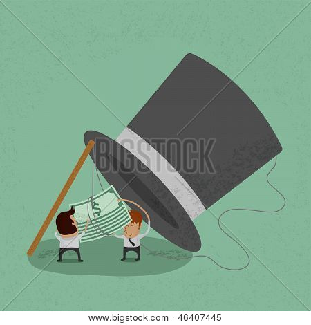 Business man standing by trap and looking at money , eps10 vector format