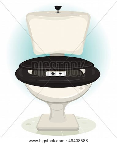 Funny Creature's Eyes Inside Water Toilet