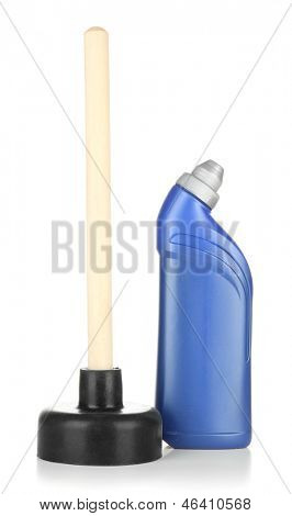 WC-Kolben und saubere Flasche, isolated on white
