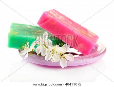 Soap-dish with natural handmade soap, isolated on white