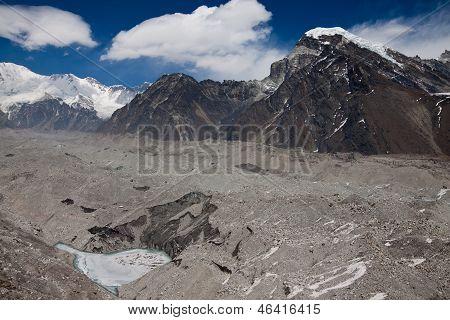 Ngozumba Glacier Near Gokyo Village. Himalayas. Nepal