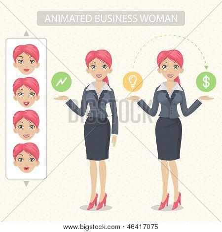 Business-Frau erzählt und darstellt