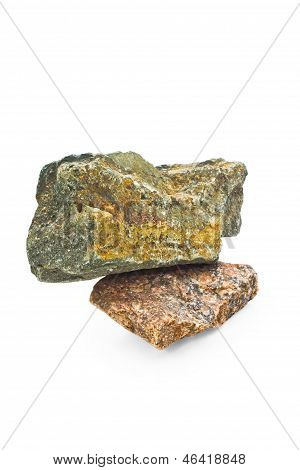 stone isolated white natural background rock granite solid bould