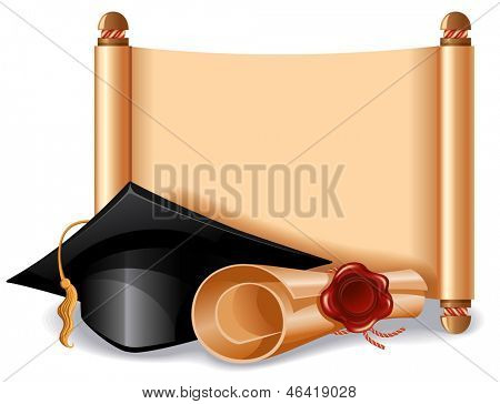 Background with graduation cap, diploma and place for your text. Vector illustration.