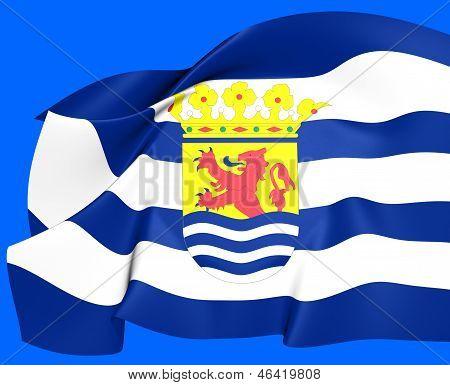 Flag Of Zeeland, Netherlands.