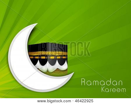 C resent moon and view of Qaba Shareef on green abstrct background for Ramadan Kareem.