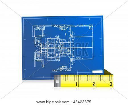 Blue Print und Maßnahme Tape Illustration Design