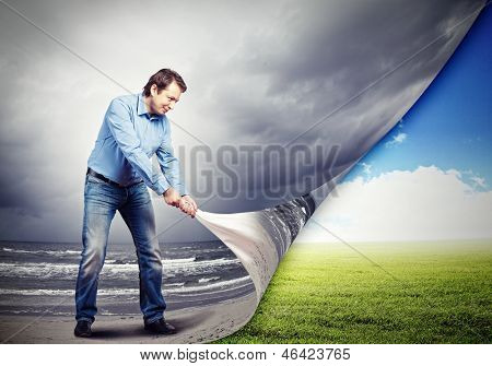 Image of adult handsome man changing reality