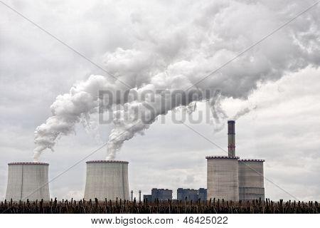 Modern Power Plant Exhausting Large Amount Of Vapor