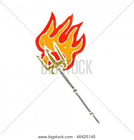 retro cartoon flaming trident