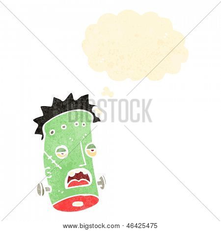 retro cartoon frankenstein monster head