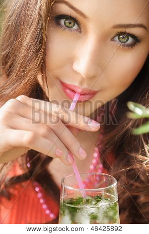 Young Woman Drink Cocktail