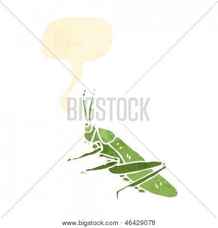 retro cartoon grasshopper with speech bubble