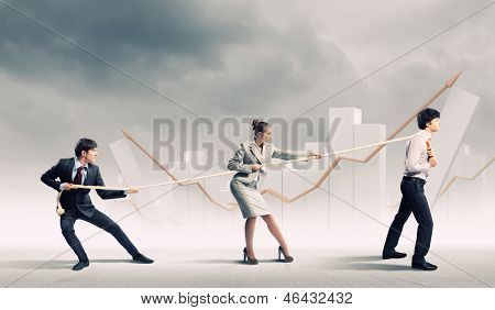 Image of three businesspeople pulling rope with bars picture in background