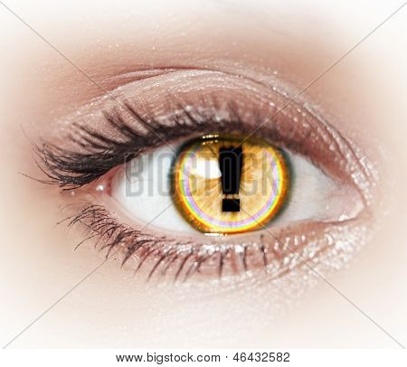 Close-up image of woman's eye with symbol