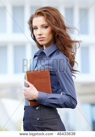Young happy women or student on the property bussines background