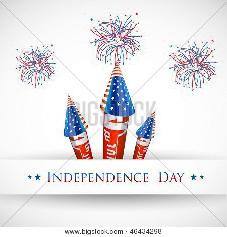 4th of July American Independence Day celebration background with fire crackers.
