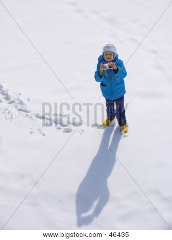Girl  On The Snow Field