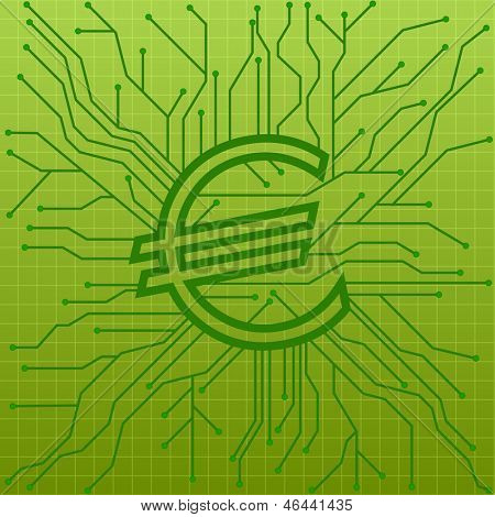 illustration of a green circuit board with an euro sign, symbol for internet business, eps10 vector