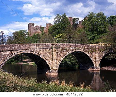 Stone bridge over river, Ludlow, England.