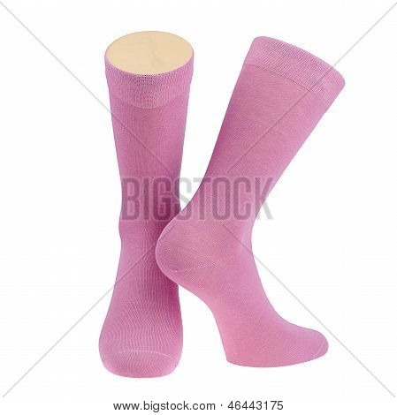 Pair of pink socks on mannequin