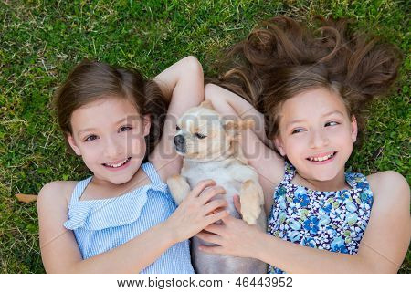 twin sisters playing with chihuahua dog lying on backyard lawn
