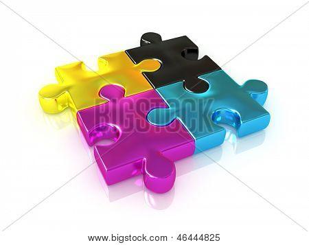 CMYK. Puzzle. 3d