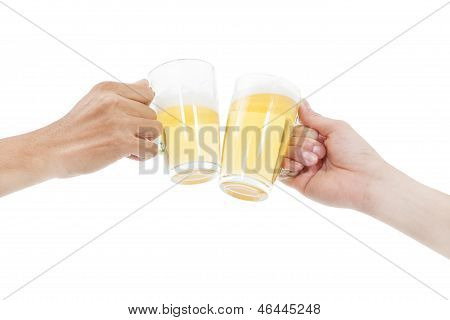 Hands Holding Beers Making A Toast