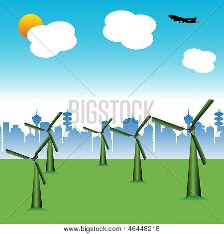 Turbinas de viento verde