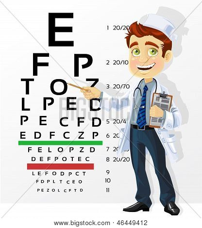 Cute Men Doctor - Optometrist Points To The Table For Testing Visual Acuity