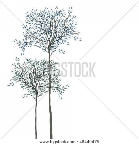 Trees background. The trunk and leaves in separate layers. Vector illustration.