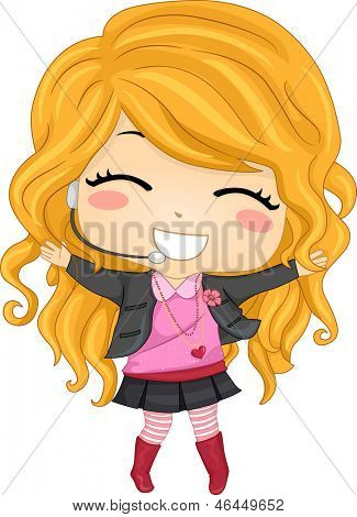 Illustration of a Little Girl Pop Star wearing a lapel mic